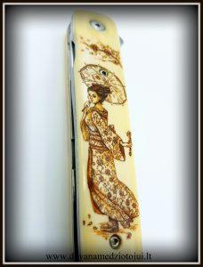 lenktinis peilis nr 416 (7) Medžiokliniai peiliai, peiliai medžioklei, rankų darbo peiliai, peilis medžiotojui, peilių gamyba, išskirtiniai peiliai, dovana vyrui, verslo dovanos, kokybiški peiliai